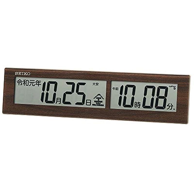 세이코 clock 벽시계 다나무결 모양 전파 디지탈 신원호 표시괘 치겸용 SQ441B