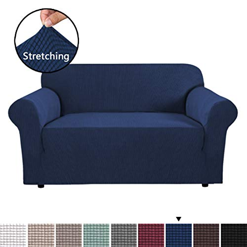 H.VERSAILTEX Sofa Cover 1 Piece Machine Washable Jacquard Spandex Sofa Slipcover Furniture Cover/Protector, Soft Stretch Spandex Skid Resistance Loveseat Slipcovers 2 Cushions (2 Seater, Navy) (Loveseats Cheap Under $100)