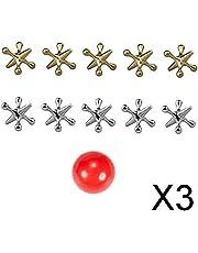 Colcolo 3 x 10 x metalen jacks spel met bouncy Ball Knucklebones klassiek feestspeelgoed voor kinderen