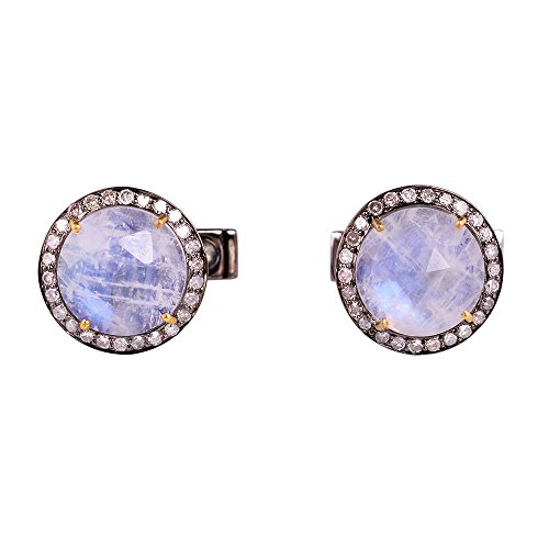 8.25ct Blue Moonstone Pave Diamond 14k Gold Cufflink 925 Sterling Silver Jewelry by Jaipur Handmade Jewelry