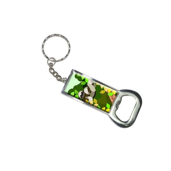 Graphics And More Bottlecap Opener Key Chain, Geometric Sloth Yellow (Kk6265) -
