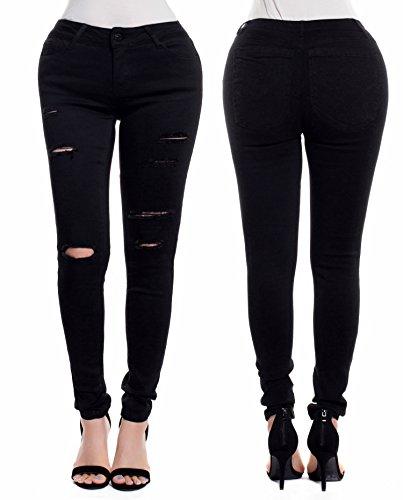 Instar Fashion Women's Low Rise Distressed Skinny Denim Jeans (9, J26111 Black)