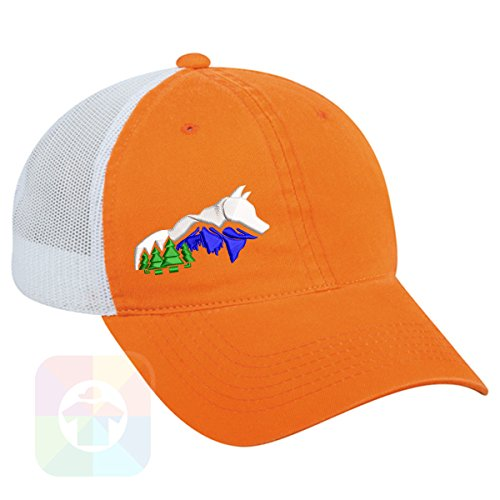 Custom Tshirts and Hats OutdoorCap Unstructured Velcro Baseball Mesh Dad Hat With Wolf Mountains Design on it. #1901 by Custom Tshirts and Hats