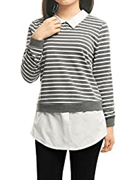 Allegra K Women's Striped Tunic Shirt w Woven Shirttail Hem and Collar