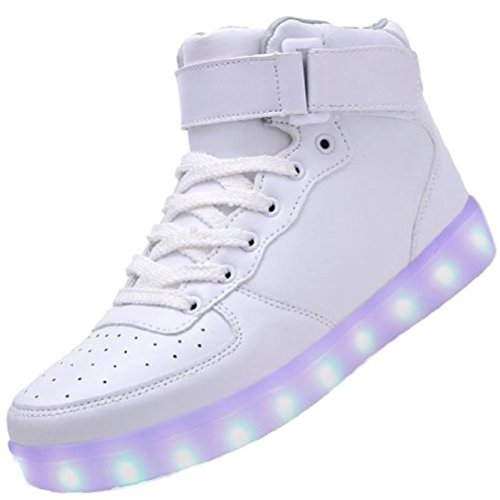 (Present:small towel)JUNGLEST® [2016 New Release] Womens Mens High Top USB Charging LED Sport Shoes Flashing Sneakers Lace U White pLiorASzwb