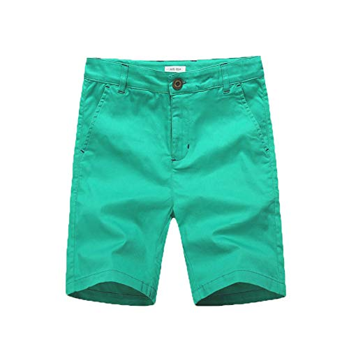 - KID1234 Boys Shorts - Flat Front Shorts with Adjustable Waist,Chino Shorts for Boys 5-14 Years,6 Colors to Choose Green