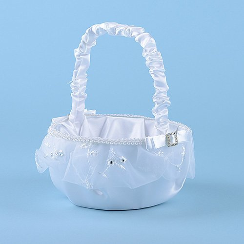 BBCrafts Flower Girl Baskets White ( 9 Inch ) Wedding Decor (5814W) by BBCrafts