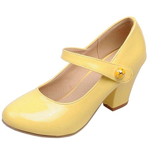 Davanti giallo Moda Jane Scarpe Mary Blocco TAOFFEN Alto Tacco Col Donna Chiuse Velcro 7qSw5Z