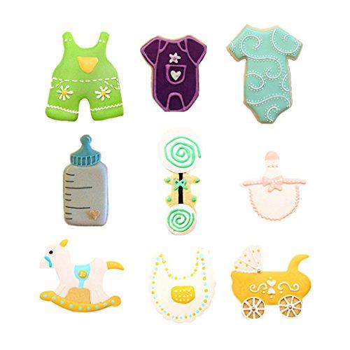 Yunko Baby Shower Theme Buggy Rocking Horse Bottle Cookie Cutter 9 Piece Set