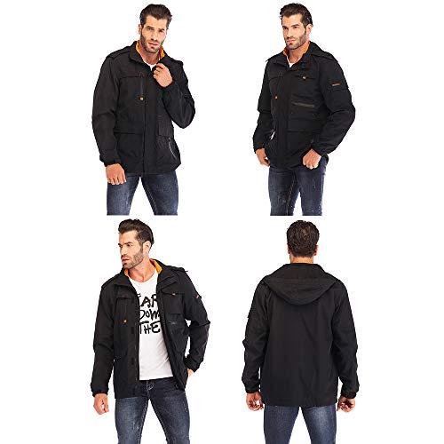 Yozai Jacket for Men, Men's Outdoor Sports Hooded Windproof Jacket Waterproof Rain Coat Black L by Yozai (Image #2)