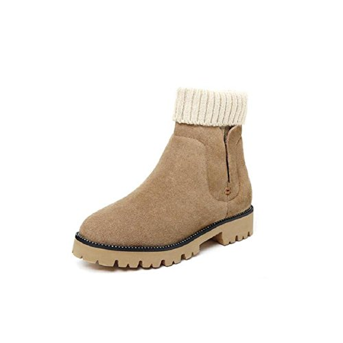 Woman Cotton-padded Shoes Thick-soled Flat Martin Boots Snow Girl Short boots Big shoes KHAKI-36