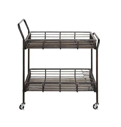 Creative Co-op DA6149 Metal Bar Cart with Shelves & Bottle Holders by Creative Co-op