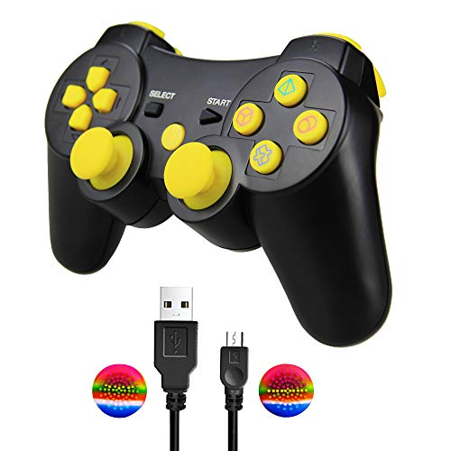 PS3 Wireless Controller, TPFOON Double Shock SIXAXIS Gamepad Remote for Playstation 3, Charging Cable and 2 Thumb Grip Caps Included - Traditional Clocks 100