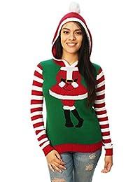Ugly Christmas Sweater Women's Cute Santa Girl Hooded Sweater-Medium
