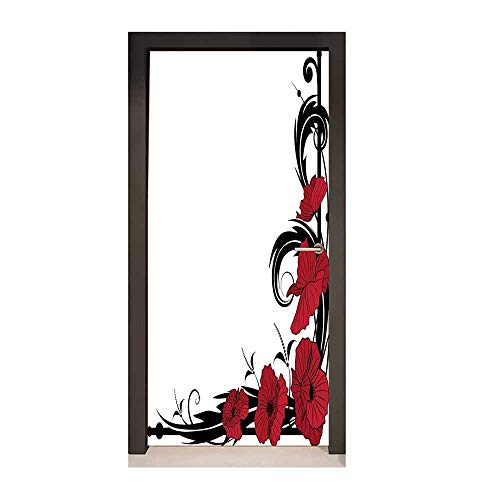 Homesonne Art Nouveau Decor Door Mural Poppy Bouquet Branches Romantic Pastoral Idyllic Meadow Blossom Vintage Modern Art Black Ruby White,W23xH70 (Nouveau Ruby Charm)