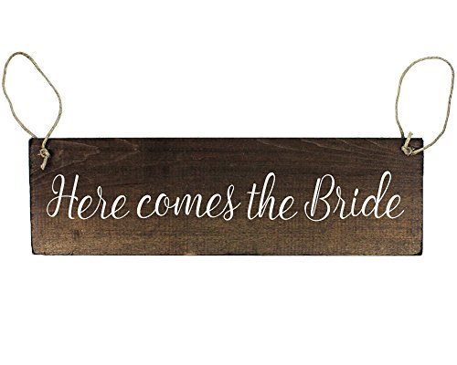 Double Sided Here Comes The Bride Sign with and They Lived Happily Ever After for Ring Bearer or Flower Girl Rustic Wedding Decor]()
