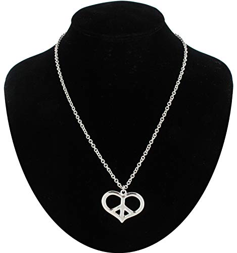 Necklace Pendant Peace Sign Heart Chain Silver Tone Necklace For Women