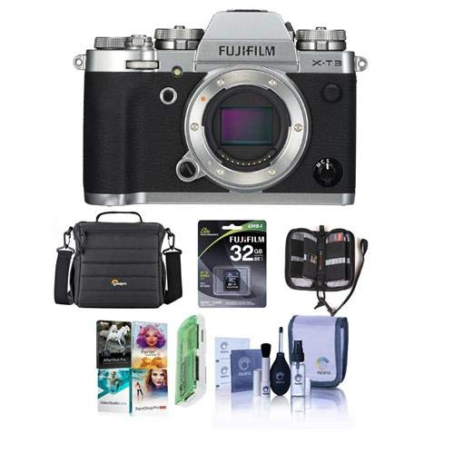Fujifilm X-T3 Mirrorless Camera Body, Silver - Bundle with 32GB SDHC U3 Card, Camera Case, Cleaning Kit, Memory Wallet, Card Reader, Pc Software Package