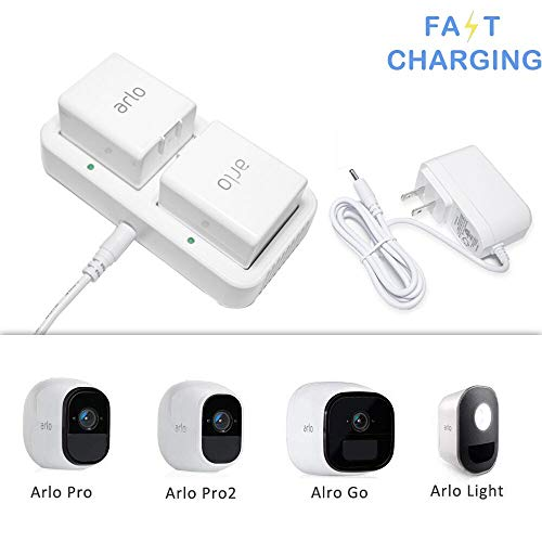 Price comparison product image Charging Station for Arlo Rechargable Batteries,  Imported Chip Competible with Arlo Pro,  Arlo Pro 2,  Arlo Go,  Arlo Security Light,  Fireproof Materal Adapter with 1.2M Long Cable