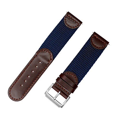 NATO Extra Long Band, YQI Men's Calfskin Leather Nylon Watch Strap Swiss-Army Style Watch Band (85x125mm) (16mm, Brown and Blue) (Swiss Army Watch Band Loop)