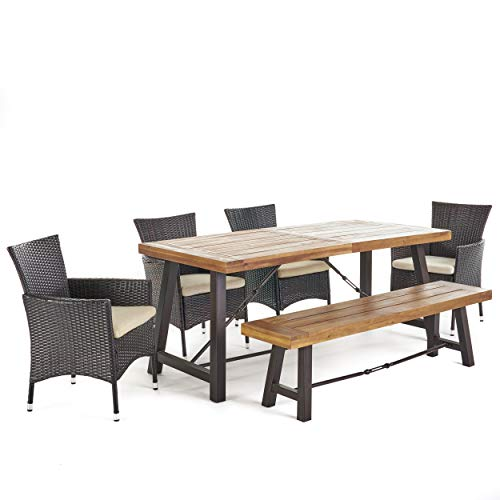 Christopher Knight Home Jelle 6 Piece Acacia Wood Dining Set with Wicker Dining Chairs and Beige Cushions in Multibrown with Teak Finish
