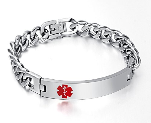 [Free Engraving Stainless Steel Medical Alert ID Bracelet for Women,Silver,8