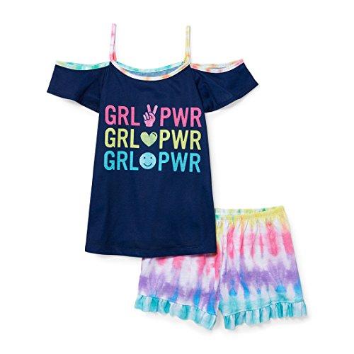 Girls Tie Dye - The Children's Place Big Girls' Top and Shorts Pajama Set, Shipyard, L (10/12)