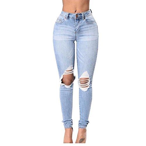 Casual Claro Vaqueros Del Afligido Mujer De Lanmworn Destruido Azul tramo Jeans Polainas Flaco Apretado Rasgados Alta Agujero Cintura Lápiz Pantalones vHxaOx