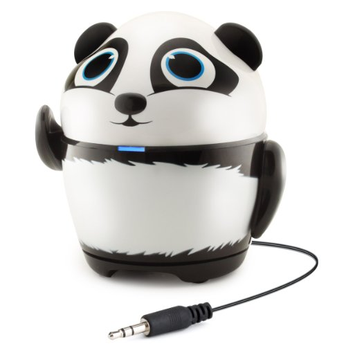 GOgroove Portable Stereo Speaker Music Player with Panda Animal Design & Built-in 3.5mm Cord