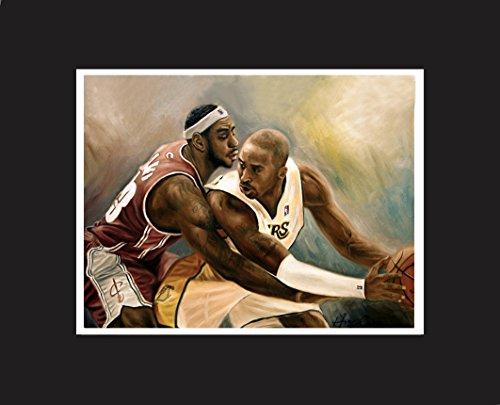 (Kobe Bryant, 24, LeBron James, professional basketball player, Oil Painting Print 16 x 20
