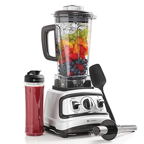 BlendWorks High Speed Blender All-In-One Set, Industrial Strength, Pro Series (Incl: 70 Ounce Container, Tamper, Spatula, Measuring Lid, 20 Ounce To-Go Smoothie Cup), Silver/Black, 1500 Watts, 2.0 ()