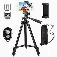 Tefeng, TF-3120, Alluminio Treppiede per Fotocamera con Telecomando Bluetooth e Universal Smartphone Adattatore per iPhone Samsung e Altre cellulare (nero)