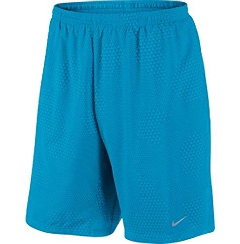 "Nike Men's 9"" Distance Running Shorts Blue Printed Dri Fit Large 613999 415"