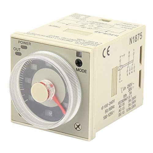 Knob Time Relay, H3CR-A8 1.2S-300H 100-240V AC 100-125V DC 8-Pin Delay Timer Relay Knob Control Time Relay for Automatic Control,Mechatronic,etc (Difference Between Ac Relay And Dc Relay)