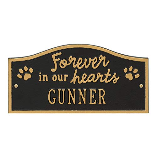 Whitehall Forever in Our Hearts Personalized Pet Wall or Ground Memorial Plaque - Paw Print Remembrance Marker/Sign - Black/Gold