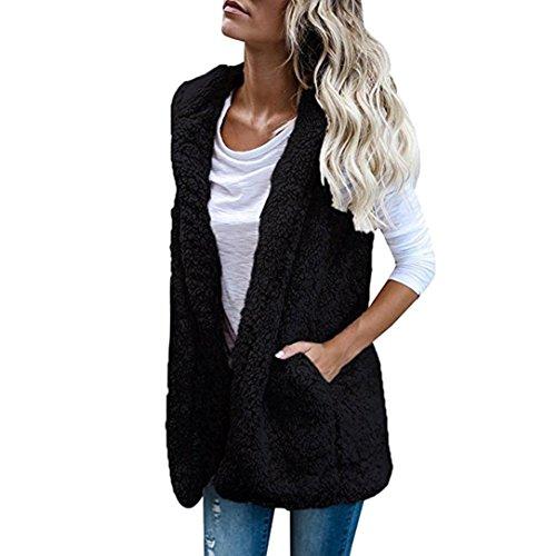 mens Vest Winter Hoodie Outwear Casual Faux Fur Zip Sherpa Jacket ()