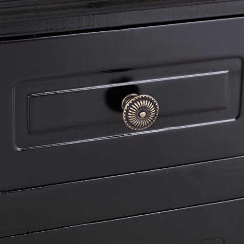 Black Nightstand For Bedroom w/Storage Drawer and Cabinet, Wood End Accent Table by unbrand (Image #6)