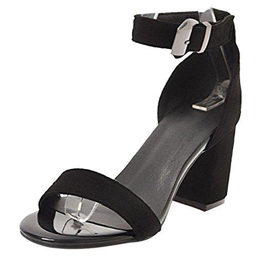 Tacco Scarpe Caviglia Blocco 7cm Cinturino Sandali TAOFFEN A Donna Nero alla 5wOCnqUn