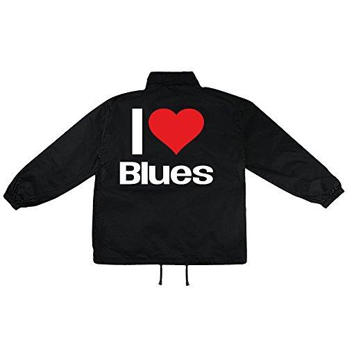 i love Blues Motiv auf Windbreaker, Jacke, Regenjacke, Übergangsjacke, stylisches Modeaccessoire für HERREN, viele Sprüche und Designs