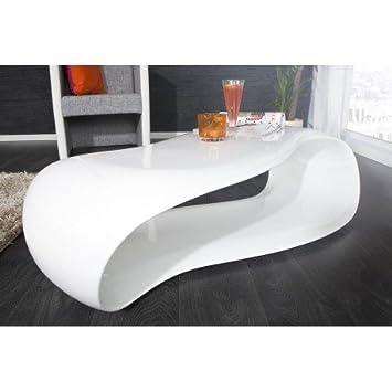 Table basse 110cm design vague en fibre de verre coloris blanc laqué ...