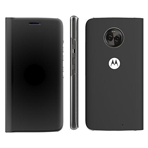 Lenovo Moto X4 Flip Case, Touch Flip Cover Transparent Shell Shock Resistant and Edge Protective Folio Flip Case for Motorola Moto X4 (Black)