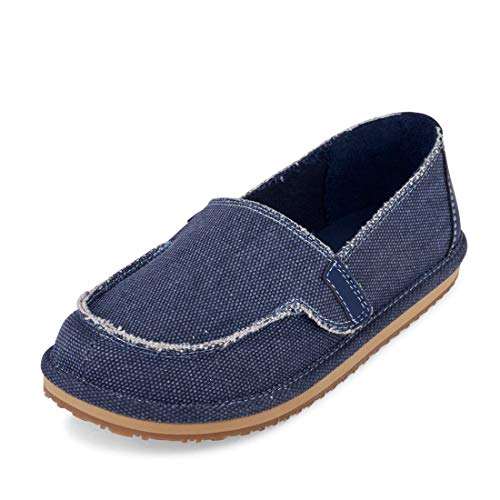 The Children's Place Boys' Canvas Deck Boat Shoe Loafer, Navy, Youth 4 Medium US Little Kid ()