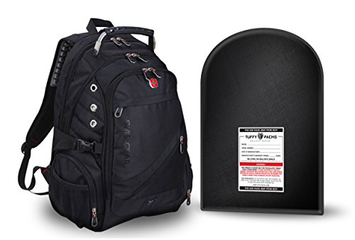 SwissGear ScanSmart Backpack (Black) with Removable Bulletproof Ballistic Shield. Watch Our Shooting Video. by TuffyPacks