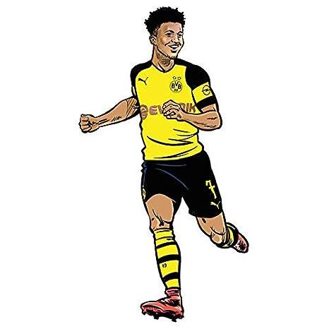 Wandsticker Bvb Comic Spieler Jadon Sancho Borussia Dortmund Fussball Bundesliga Sport Verein Tricot Illustration Sturmer Wall Art Grosse