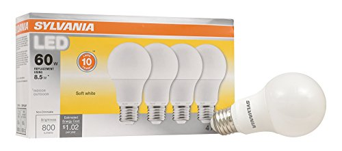 Frosted Base A19 Medium (SYLVANIA A19 LED 8.50W (60W equivalent), Medium Base (E26/24), Frosted Finish, Warm White (2700K), 800 lumen, 4-pack)