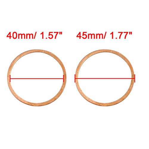 X AUTOHAUX 8 Pcs 40mm Inner Dia Copper Washers Flat Sealing Gasket Rings for Car by X AUTOHAUX (Image #2)
