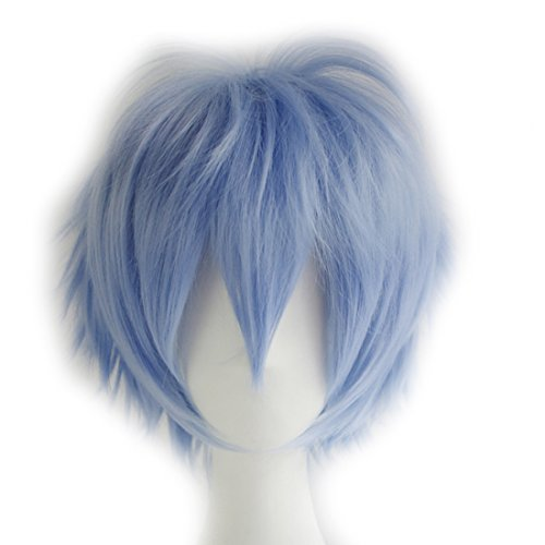 (Alacos Anime Wig Short Layered Light Blue Anime Cosplay Hair Wig+ Wig)