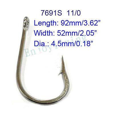 FidgetGear 7691S 11//0 Lot de 10 hame/çons de p/êche en Acier Inoxydable pour Gros Jeu Marlin Thon