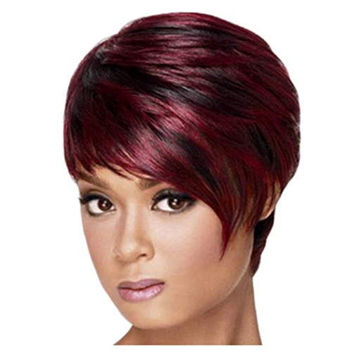 Clearance Short Straight Hair Wig for Black Women Full Wigs Heat Resistant Synthetic Fiber Costume Party Female Wig (Red)]()