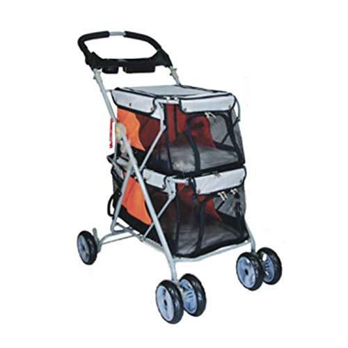 Jzmaio A32 Double-Decker Pet Stroller Rainproof Four-Wheeled Dogs/Cats Cart Multi-Purpose Belt Handbrake Travel Pet Sports Car. Dog cart (Color : Orange)